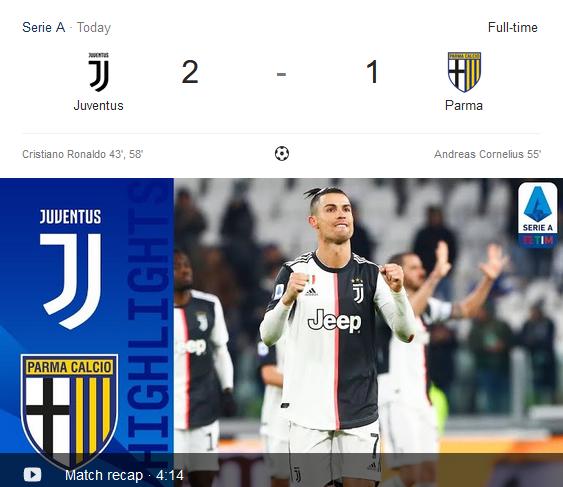 Melempem Lawan AS Roma, Parma Kembali Kalah dari Juventus