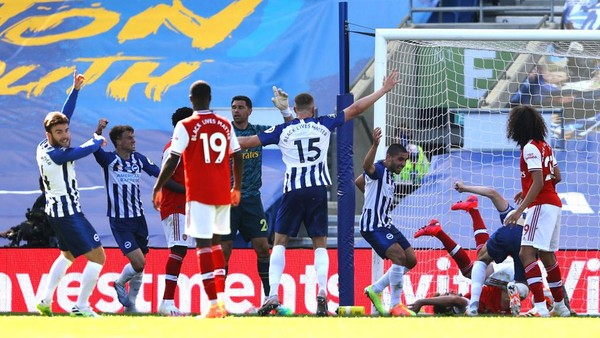 Hasil Pertandingan Brighton Vs Arsenal skor 2-1